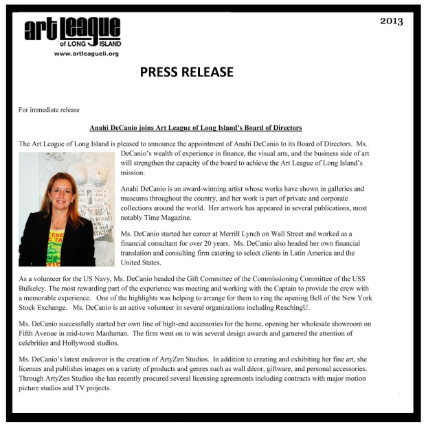 PRESS RELEASE - LONG ISLAND ART LEAGUE