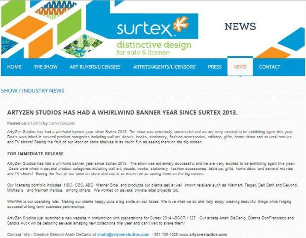 SURTEX PRESS RELEASE ANNOUNCEMENT 2014