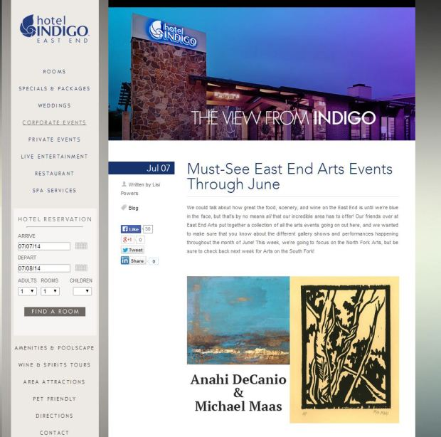 EAST END ARTS EXHIBIT - HOTEL INDIGO RECOMMENDATION