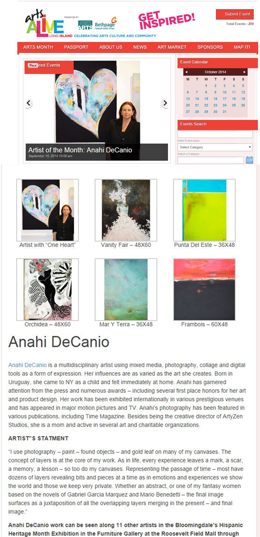 ANAHI DECANIO - ARTIST OF THE MONTH - LONG ISLAND ARTS ALLIANCE