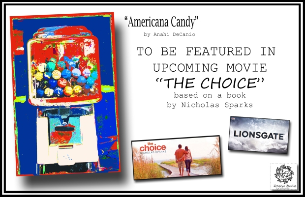 "Wall art by Anahi DeCanio licensed for movie set of Nicholas Sparks movie ""The Choice"" - produced by Lionsgate - Directed by Ross Katz"