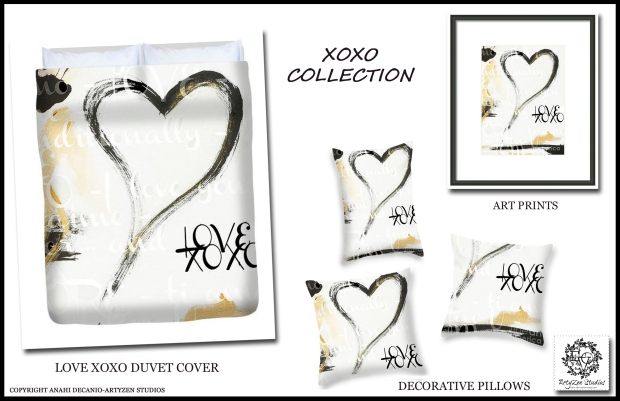 XO LOVE BLACK AND WHITE COLLECTION - Gold Accents.  Art Prints - Bedding and Decorative Pillows.