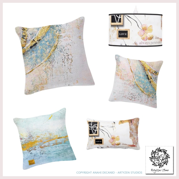 ART PILLOWS  - GILDED COLLAGE