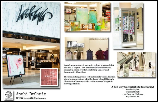 ARTIST ANAHI DECANIO EXHIBITS AT LORD AND TAYLOR FOR BREAST CANCER AWARENESS MONTH EVENTS LO