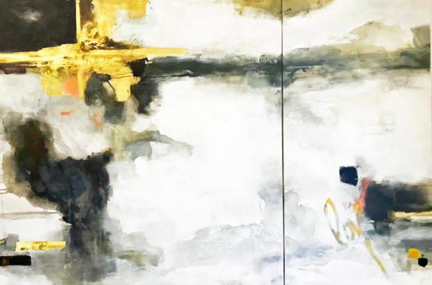 - Anahi DeCanio - TRIBECA - MIXED MEDIA Abstract ON CANVAS - 48X72 - 2019